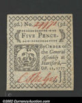 Colonial Notes:Connecticut, Connecticut October 11, 1777 5d Gem New. This beautiful ...