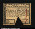 Colonial Notes:Massachusetts, Massachusetts May 5, 1780 $8 New. Canceled with a large ...