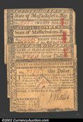 Colonial Notes:Massachusetts, Five Canceled Massachusetts Guaranteed Notes. The grades ...