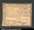 Colonial Notes:New Jersey, New Jersey June 9, 1780 $1 Very Fine. A rare example of a ...