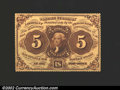 Fractional Currency:First Issue, Fr. 1229 5c First Issue Choice New. The perforations are ...