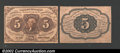 Fractional Currency:First Issue, Fr. 1231SP 5¢ First Issue Narrow Margin Pair Choice New. ...
