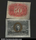 Fractional Currency:Second Issue, Fr. 1314SP 50¢ Second Issue Medium Margin Pair About New. ...