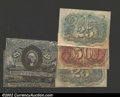 Fractional Currency:Group Lots, Narrow Margin Second Issue Specimens. There are two faces, ...