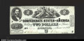 Confederate Notes:1862 Issues, T42 $2 1862. A bright white T42, a tough note in this ...