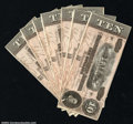 Confederate Notes:1864 Issues, T68 $10 1864. A nice run of seven consecutive examples, ...