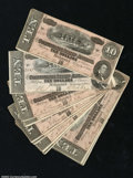 Confederate Notes:1864 Issues, T68 $10 1864. A baker's dozen examples, each grading in ...