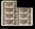 Confederate Notes:1864 Issues, T68 $10 1864 Partial Sheet. A sheet of seven pieces, ...
