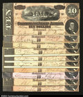 Confederate Notes:1864 Issues, T68 $10 1864.A dealer lot of ten pieces, each grading ...