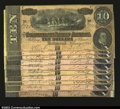 Confederate Notes:1864 Issues, T68 $10 1864.Another dealer lot of ten pieces, this group ...