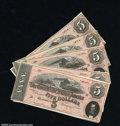 Confederate Notes:1864 Issues, T69 $5 1864. A nice group of six notes, all with the same ...
