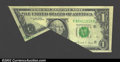 Error Notes:Foldovers, Fr. 1915-F $1 1988A Federal Reserve Note. Extremely Fine. ...