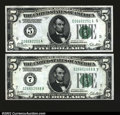 Two Nice 1928A $5 Federal Reserve Notes. Richmond grading Gem Crisp Uncirculated, and Chicago, grading Choice Crisp Un...