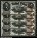 Large Size:Legal Tender Notes, Fr. 50 $2 1880 Legal Tenders Cut Sheet of Four Gem New. ...