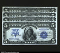 Large Size:Silver Certificates, Fr. 271 $5 1899 Silver Certificates Cut Sheet of Four Superb ...