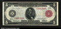 Large Size:Federal Reserve Notes, Fr. 834b $5 1914 Red Seal Federal Reserve Note Choice About ...