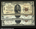 National Bank Notes:Pennsylvania, Greensburg, PA- $5, $20 1929 Ty. 1 The First NB Ch. # ...