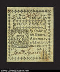 Colonial Notes:Connecticut, October 11, 1777, 4d, Connecticut, CT-216, CU. An uncancelled ...