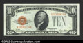 Small Size:Gold Certificates, 1928 $10 Gold Certificate, Fr-2400, Choice AU. A lovely small ...