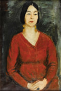 Fine Art - Painting, European:Modern  (1900 1949)  , NIKOLAI IVANOVITCH VASIL'EV (Russian-American 1892-1970).Portrait Of A Woman In Red, circa 1930. Oil on canvas. 36 x24...