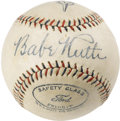 "Autographs:Baseballs, Circa 1928 Babe Ruth Single Signed Baseball. The red and bluestitching of this special ""Harwood League Special"" and the lo..."