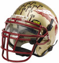 """Football Collectibles:Balls, 1999 Theon Rackley Sugar Bowl Game Worn Helmet. The star linebacker of the Florida State Seminoles made fine use of this """"A..."""