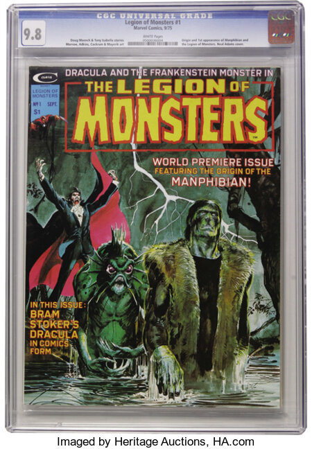 Legion of Monsters #1 (Marvel, 1975) CGC NM/MT 9.8 White pages. Neal Adams cover. Gray Morrow, Dan Adkins, Dave Cockrum, Val...