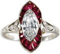 Estate Jewelry:Rings, Art Deco Diamond, Ruby, Platinum Ring, Black, Starr & Frost. The ring centers one marquise-cut diamond measuring 9.50 x 5....