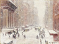 Fine Art - Painting, American:Modern  (1900 1949)  , GUY CARLETON WIGGINS (American 1883-1962). Snow Storm On TheAvenue, 1917-1918 . Oil on canvasboard. 12 x 16 inches (30....
