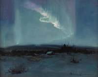 SYDNEY MORTIMER LAURENCE (American 1865-1940) Northern Lights Oil on masonite 12 x 16 inches (30.4 x 40.6 cm) Signed