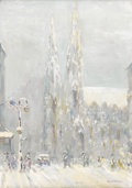 Fine Art - Painting, American:Modern  (1900 1949)  , JOHANN BERTHELSEN (American 1883-1969). St. Patrick's CathedralIn The Snow, circa 1945. Oil on canvas. 20 x 14 inches (...