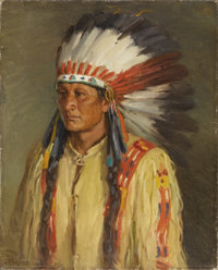 JOSEPH HENRY SHARP (American 1859-1953) Jerry Oil on canvas 20 x 16 inches (50.8 x 40.6 cm) Signed lower left: JHS