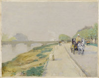 CHILDE HASSAM (American 1859-1935) Banks Of The Seine, 1888 Oil on canvas 8-3/4 x 11 inches (22.2 x 27.9 cm) Signed