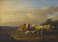 Fine Art - Painting, European:Antique  (Pre 1900), FRANCOIS VANDEVERDONK (Belgian 1848-1875). Sheep and Cow. Oil on panel. 7 x 9-1/2 inches (17.8 x 24.1 cm). Signed with i... (Total: 2 )