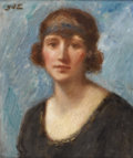 Fine Art - Painting, European:Modern  (1900 1949)  , GEORGE D'ESPAGNAT (French 1870-1950). Portrait Of A Lady.Oil on canvas. 18-1/2 x 15-1/8 inches (47 x 38.4 cm). Signed u...