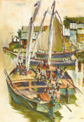 Fine Art - Painting, American:Contemporary   (1950 to present)  , PHILLIP HERSCHEL PARADISE (American 1905-1997). HaitianSchooner. Watercolor and ink on paper. 29-3/8 x 20-3/8 inches(s...
