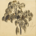 Fine Art - Painting, American:Modern  (1900 1949)  , HAYLEY LEVER (American 1876-1958). Tree Study. Ink wash andgraphite on paper. 7-1/2 x 7-1/2 inches (19.1 x 19.1 cm). In...