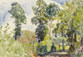 American:Impressionism, HAYLEY LEVER (American 1876-1958). Old Farm, Devon.Watercolor on paper. 10 x 14 inches (25.4 x 35.6 cm). Initaledlower...