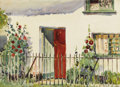 American:Impressionism, HAYLEY LEVER (American 1876-1958). The Red Doorway.Watercolor on paper. 10 x 13-1/4 inches (25.4 x 33.7 cm). Signedlow...