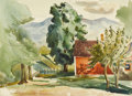 American:Impressionism, HAYLEY LEVER (American 1876-1958). Stowe, VT, 1933. Watercolor on paper. 10.75in. x 15in.. Signed lower left. Provenan...