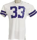 Football Collectibles:Uniforms, Late 1970's Tony Dorsett Game Worn Jersey. Simple in style yet enormous in appeal is this home white mesh Dallas Cowboys ga...
