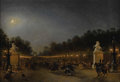 Paintings, EUGENE-LOUIS LAMI (French 1800-1890). Avenue de Champs Elysees. Oil on canvas. 13-3/4 x 20-1/8 inches (34.9 x 51.1 cm). ...