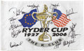 Golf Collectibles:Autographs, 2006 Ryder Cup American Team Signed Pin Flag. One of a kindcollectible comes to us directly from team member Zach Johnson,...