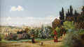 Fine Art - Painting, European:Antique  (Pre 1900), FREDERICO NERLY (Italian 1824-1919). Rome Landscape With MaidenAnd Cardinal. Oil on board. 16-1/2 x 28-1/4 inches (41.9...