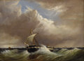 Fine Art - Painting, European:Antique  (Pre 1900), THOMAS H. HAIR (British 1810-1882). Untitled (Seascape WithSingle-Mast Fishing Vessel), 1870. Oil on canvas. 16-5/8 x 1...
