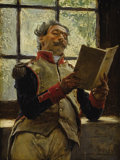 Fine Art - Painting, European:Antique  (Pre 1900), JOSÉ JIMÉNEZ Y ARANDA (Spanish 1837-1903). A SoldierReading, 1890. Oil on beveled mahogany panel. 6 x 4-1/2 inches(15....