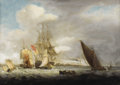 Fine Art - Painting, European:Antique  (Pre 1900), School of THOMAS LUNY (British 1759-1837). A British Ship Of TheLine Of The Red Fleet. Oil on canvas. 20 x 28 inches (5...