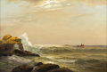 Fine Art - Painting, American:Modern  (1900 1949)  , School of WARREN SHEPPARD (American 1858-1937). Fisherman On ARocky Coast. Oil on canvas. 20 x 30 inches (50.8 x 76.2 c...
