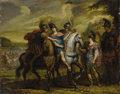 Fine Art - Painting, European:Antique  (Pre 1900), School of SIR PETER PAUL RUBENS (Flemish 1577-1640). Untitled,(possibly Alexander at the battle of Malli). Oil on coppe...