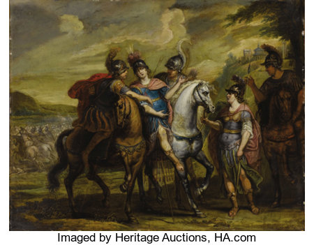 School of SIR PETER PAUL RUBENS (Flemish 1577-1640) Untitled, (possibly Alexander at the battle of Malli) Oil on coppe...